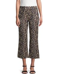 Free People - Graphic Wide-leg Cropped Pants - Lyst