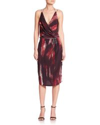 Kempner - Olivia Printed Knit Wrap Dress - Lyst