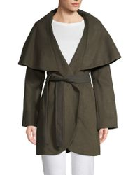 Tahari - Marla Wool Blend Oversized Collar Wrap Coat - Lyst