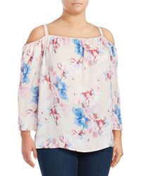 Vince Camuto - Floral-print Cold-shoulder Top - Lyst