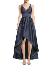 Adrianna Papell - Deep V-neck Hi-lo Ball Gown - Lyst