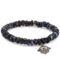 Bavna - Labradorite, Diamonds And Sapphire Hansi Bead Bracelet - Lyst