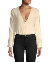 Wildfox - Triumph Faux Pearl-embellished Bodysuit - Lyst
