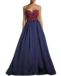 Mac Duggal - Beaded Satin Strapless Gown - Lyst