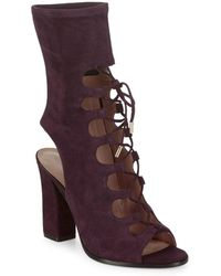 Sigerson Morrison - Linda Suede Lace-up Booties - Lyst