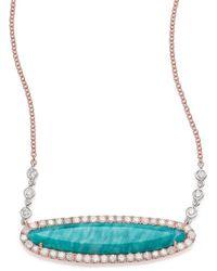 Meira T - Blue Amazonite, Diamond & 14k Rose Gold Pendant Necklace - Lyst