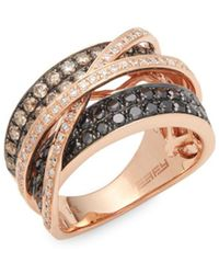 Effy - Diamond, Brown Diamond, Black Diamond And 14k Rose Gold Crossover Ring - Lyst