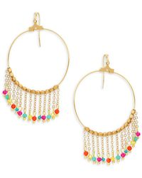 Panacea - Goldplated Multi-color Crystal Chain Tassel Hoop Earrings - Lyst