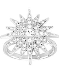 Swarovski - Balthus Silvertone And Crystal Ring - Lyst