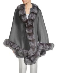 Belle Fare - Natural Silver Fox Fur-trimmed Wool & Cashmere Cape - Lyst