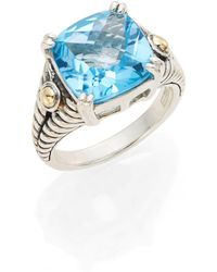 Effy - Blue Topaz, Sterling Silver & 18k Yellow Gold Square Ring - Lyst