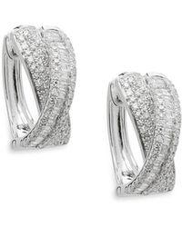 Effy - Diamond And 14k White Gold Hoop Earrings, 0.91 Tcw - Lyst