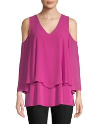 Ellen Tracy - Double-layered Cold-shoulder Top - Lyst