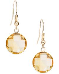 Effy - Citrine & 14k Yellow Gold Drop Earrings - Lyst