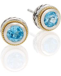 Effy - Blue Topaz, Sterling Silver & 18k Yellow Gold Button Earrings - Lyst