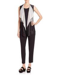 Lafayette 148 New York - Two-tone Pleated Stretch Vest - Lyst