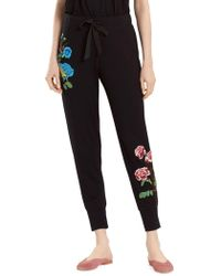Natori - Floral Embroidered Joggers - Lyst