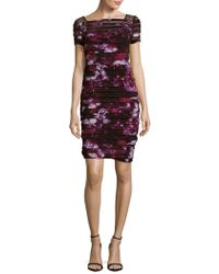 Adrianna Papell - Illusion Yoke Print Shutter Pleat Sheath Dress (plus Size) - Lyst