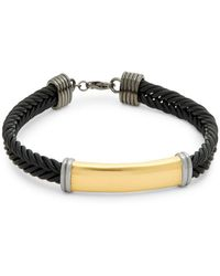 Effy - Sterling Silver And Leather Braided Bracelet - Lyst