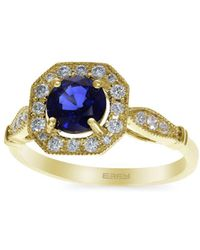 Effy - 14k Yellow Gold, Natural Diffused Ceylon Sapphire & Diamond Solitaire Ring - Lyst