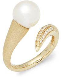 Tara Pearls - 14k Yellow Gold, White Round Pearl, And Diamond Ring - Lyst