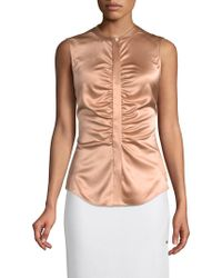 Theory - Ruched Silk Top - Lyst