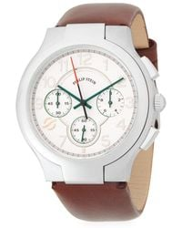 Philip Stein - Classic Stainless Steel Chronograph Leather-strap Watch - Lyst