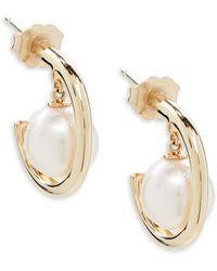 Belpearl - 8mm Round Akoya Pearl & 14k Yellow Gold Earrings - Lyst