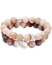 Anzie - Boheme White Topaz, Moonstone & Sterling Silver Beaded Bracelet - Lyst