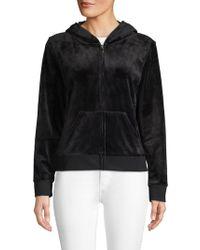 Juicy Couture Embellished Graphic Zip Hoodie - Black