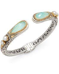 Konstantino - Amphitrite 3mm-4mm White Freshwater Pearl, Blue Topaz, 18k Gold & Sterling Silver Bracelet - Lyst