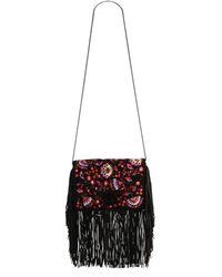Loeffler Randall - Embroidered Suede Fringe Lock Clutch - Lyst