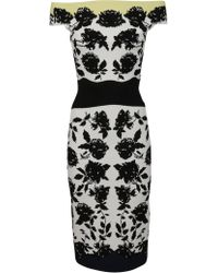 Alexander McQueen - Floral Print Longuette Dress - Lyst