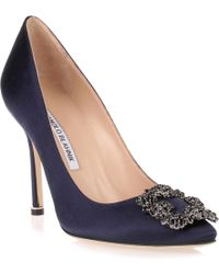 Manolo Blahnik - Hangisi Satin Pump Navy Black Crystals Us - Lyst