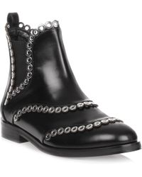 Alaïa - Black Leather Eyelet Chelsea Boot Us - Lyst