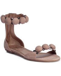 Alaïa - Beige Suede Bomb Flat Sandals - Lyst