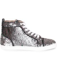 88bab330bfd Lyst - Christian Louboutin Bip Bip Glitter High-top Sneakers in Pink