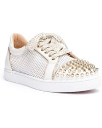 a9ae17763dda Christian Louboutin - Vieira Light Gold Leather Spike Sneakers - Lyst