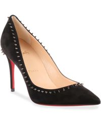4037189677dd Lyst - Christian Louboutin Anjalina 85 Black Suede Spike Pump in Black