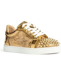 800100d0d76a Christian Louboutin - Vieira Spikes Embellished Leather Sneakers - Lyst