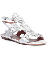 Alaïa - White Leather Floral Flat Sandals - Lyst
