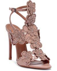Alaïa - Beige Leather Floral Sandals - Lyst