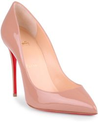 Christian Louboutin - Pigalle Follies 100 Beige Patent Leather Pump - Lyst
