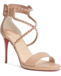 7acb79a2894 Lyst - Christian Louboutin Galleria 100 Leather Stud Sandals in Black