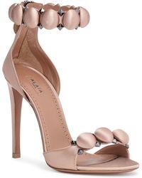 Alaïa - Satin T-strap Sandals - Lyst