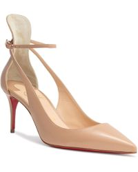 304e7cfd5d54 Lyst - Christian Louboutin Mascara 100mm Leather Red Sole Pump in White