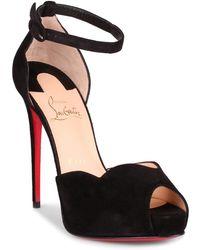 1e5a0a4d01af Christian Louboutin - Aketata 120 Black Suede Platform Sandal Us - Lyst