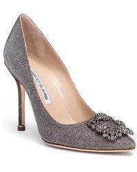 Manolo Blahnik - Hangisi 105 Notturno Gold Court Shoes - Lyst