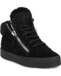 Giuseppe Zanotti | Kriss Black Suede Shearling Sneaker Us | Lyst