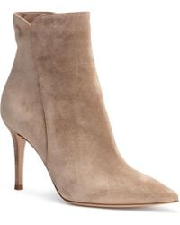 Gianvito Rossi - Levy 85 Beige Suede Pointy Booties - Lyst
